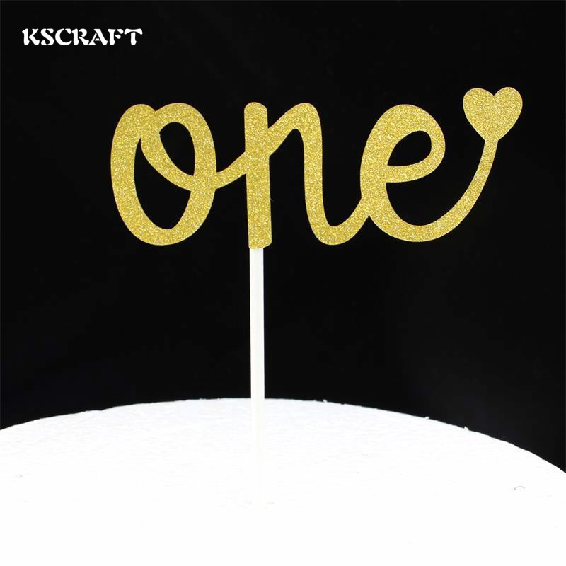 KSCRAFT Number One Cake toppers picks decoration for Kids Birthday party Cake favors Decoration supplies