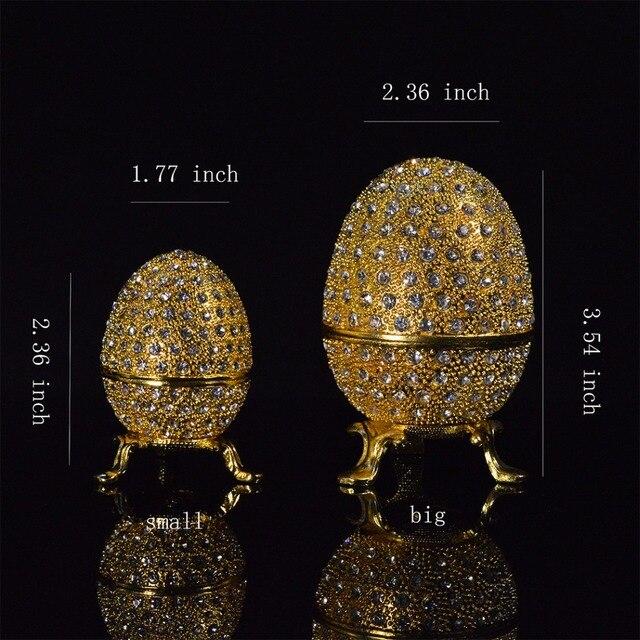 QIFU מתכת זהב פסחא פברז ה ביצת מלאכות תכשיט תיבת בית תפאורה