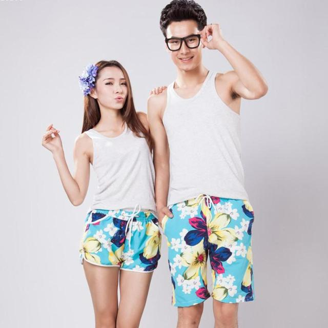 Blue Big Flower Shorts Couple Beachwear Casual Short Pants New Fashion Quick Drying Pants For Women Men A2