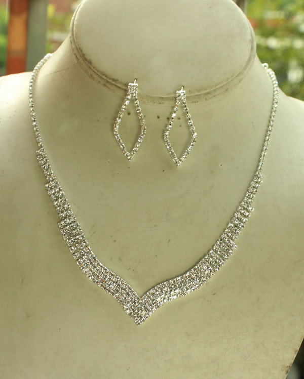 Simple V Shape Rhinestone Wedding Bridal Set Necklace Earring Jewellery For Women Party Engagement Free Shipping In Jewelry Sets From