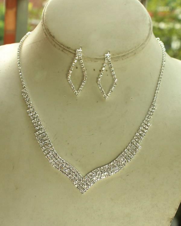 ᓂV forma simple rhinestone Boda nupcial conjunto collar pendiente ...