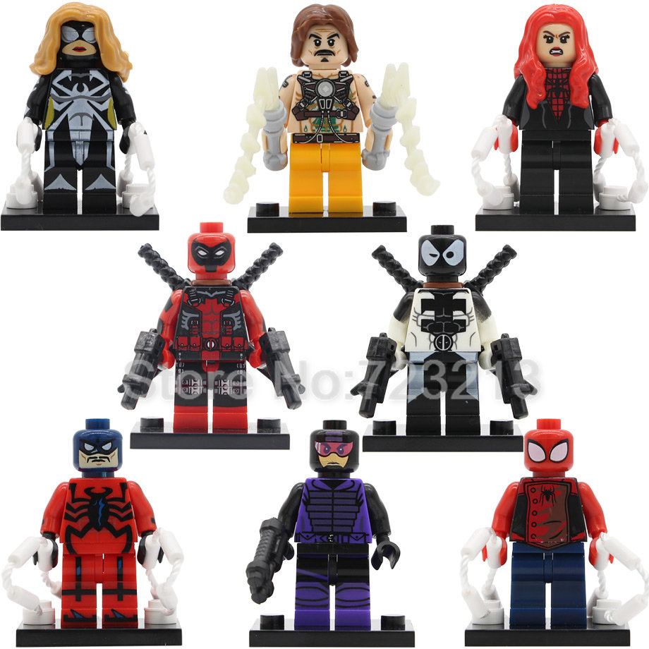 Single Sale Whiplash Arachne Super Hero Venompool Ultimate Deadpool Paladin Tarantula She-Spider Building Blocks Model Toys berkley whiplash pro в америке