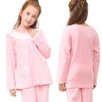 Teenage Girls Pajamas Set Children Sweet Lace Cotton Knitted Suit Long Sleeve Homewear Nightwear Sleepwear Girl Clothing Set New