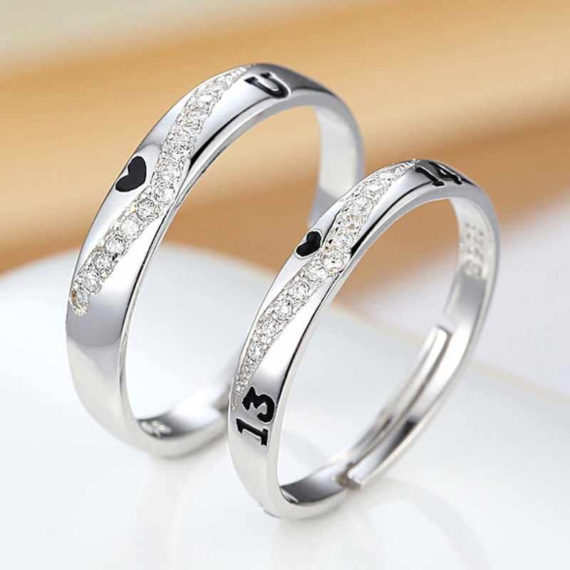 משלוח חינם קסם תכשיטי אביזרי מתכוונן גודל אני אוהב אותך 1314 דפוס 925 סטרלינג כסף אלגנטי זוג אוהבי טבעת