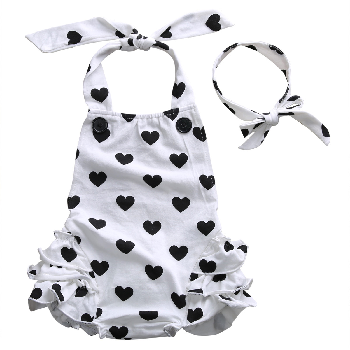 Infant Baby Girl Romper Print Love Heart Sleeve Jumpsuit Rompers+Headband 2pcs Summer Baby Clothes Halter Rompers Outfit Set fashion baby christmas tutu dress rompers short sleeve romper headband baby girl infant clothing sets baby birthday costumes