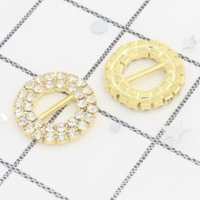 27mm 20mm 1 1/10 4/5 Double Row Round Clear Rhinestone Buckle Invitation Ribbon Slider For Wedding Supplies Decoration