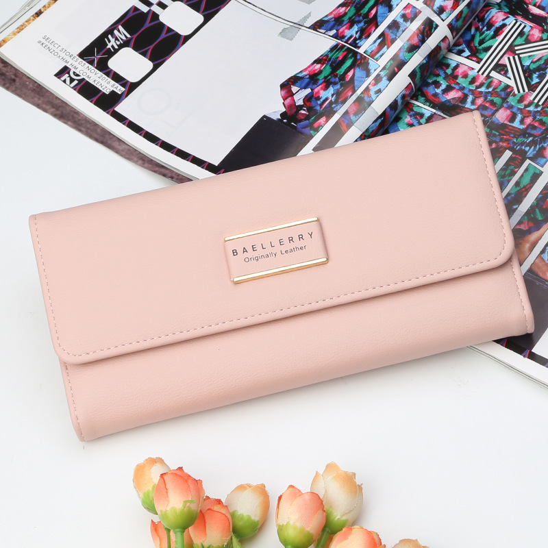 Baellerry Fashion New Women Wallet Gentle 3 Folds Multi Bits Credit Card Holder Simple Long Buckle Large Capacity Clutch Wallets