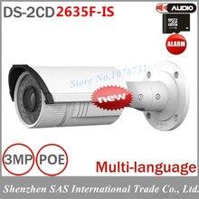 3MP Cámara de Vigilancia DS-2CD2635F-IS Vari-focal DEL IR Cámara Bala con POE IP Más de 4 unids Envío Libre de DHL