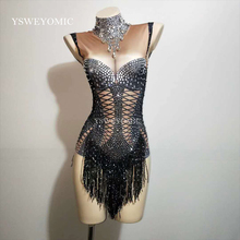 Dance Costume Black Tassel Bodysuit Sleeveless Big Stretch Womens Party Prom Bar Outfit Stage Female Singer Show Romper