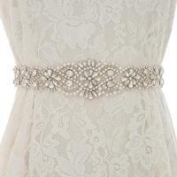 Handmade Crystal Bridal Belt Pearls Wedding Belt Silver Rhinestones Bridal Belt Sash For Wedding Dresses S156S
