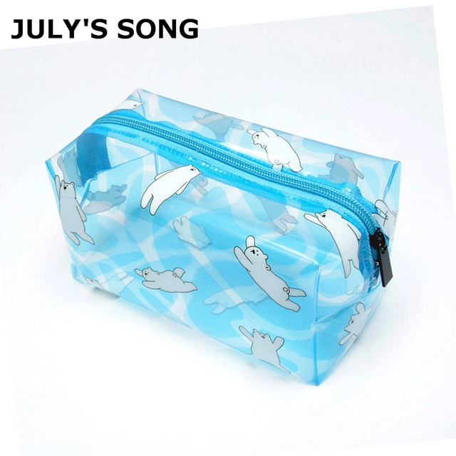 2019 JULY'S CANÇÃO Nova PVC Transparente Cosméticos Saco Saco De Armazenamento À Prova D' Água Japão Estilo Portátil Cosméticos Bolsa Para As Mulheres