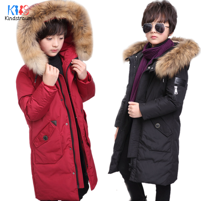 Kindstraum 2017 Casual Boys Winter Coats Hooded Kids Solid Warm Jackets Duck Down Fur Collar Children Thick Outwear, MC849