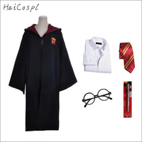 Gryffindor Cosplay Costume Slytherin Hufflepuff Ravenclaw Outfit Robe Adult Kids Cloak Party School Uniform Tie Magic