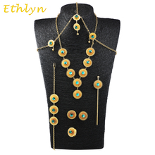 Ethlyn Ethiopian Wedding Gold Color  jewelry Necklace+earring+bracelet +hair accessories women Bridal Jewelry Set S035