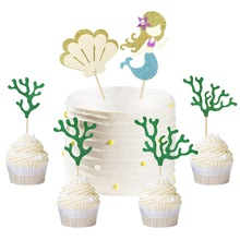 6pcs Mermaid Coral Shell Cupcake Cake Toppers Ocean Theme Party Decoration Baby Shower Wedding Birthday Favor