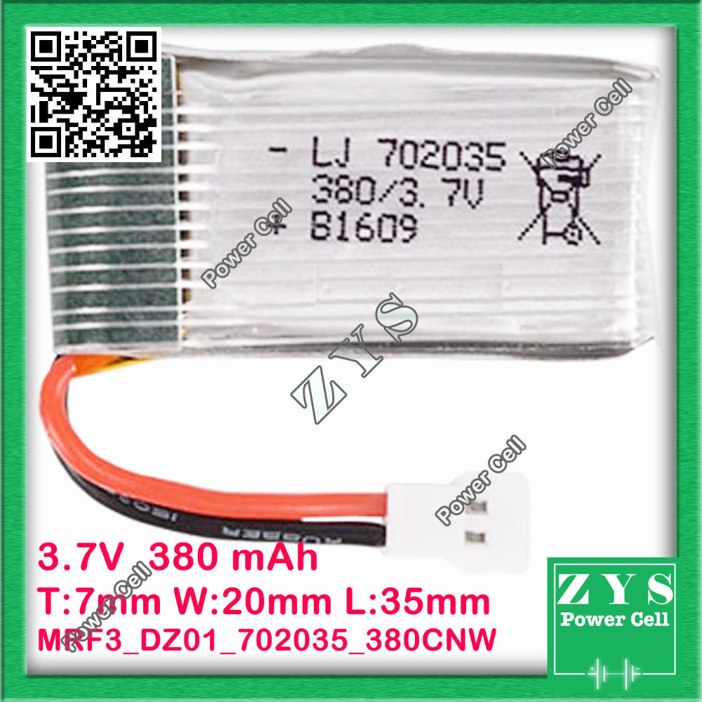 Safety Packing, 2 pin Connector 3.7V 380mAh Lipo Battery Model 702035 For Quadcopter Drone UAV UAS mini Drone Zone Size7x20x35mm