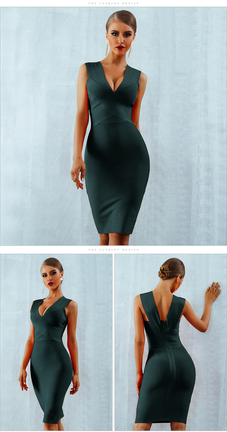 ADYCE Summer Women Bandage Dress Vestidos Verano 2019 Orange Red Tank Sexy Deep V-Neck Sleeveless Bodycon Celebrity Party Dress 8