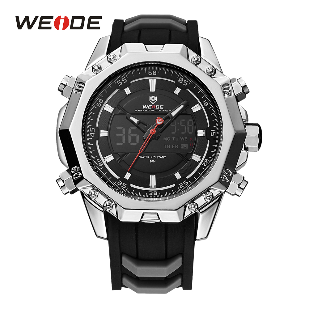 WEIDE Mens Analog Sports Watches LCD Digital Silicone Strap Buckle Hardlex Calendar Date Day Quartz Dual Time Display Wristwatch weide men sports watch quartz digital lcd display stopwatch silicone strap buckle date black dial military wristwatches for man