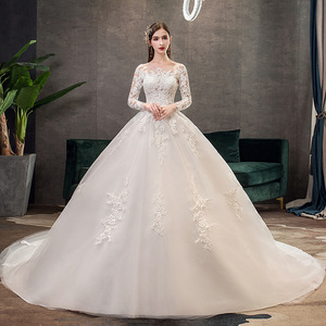 Image 1 - 2019 New Classic Off White O Neck Long Sleeve Wedding Dress Simple Lace Embroidery With Train Custom Made Slim Bridal Gown L