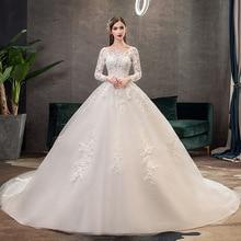 Новинка 2019, Классическое белое свадебное платье с круглым вырезом и длинным рукавом, простое кружевное вышитое со шлейфом, индивидуальный пошив, облегающее свадебное платье L