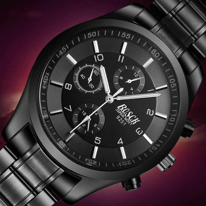 Bosck hommes montres Top marque de luxe Quartz montres en acier inoxydable noir loisirs sport lumineux étanche montre
