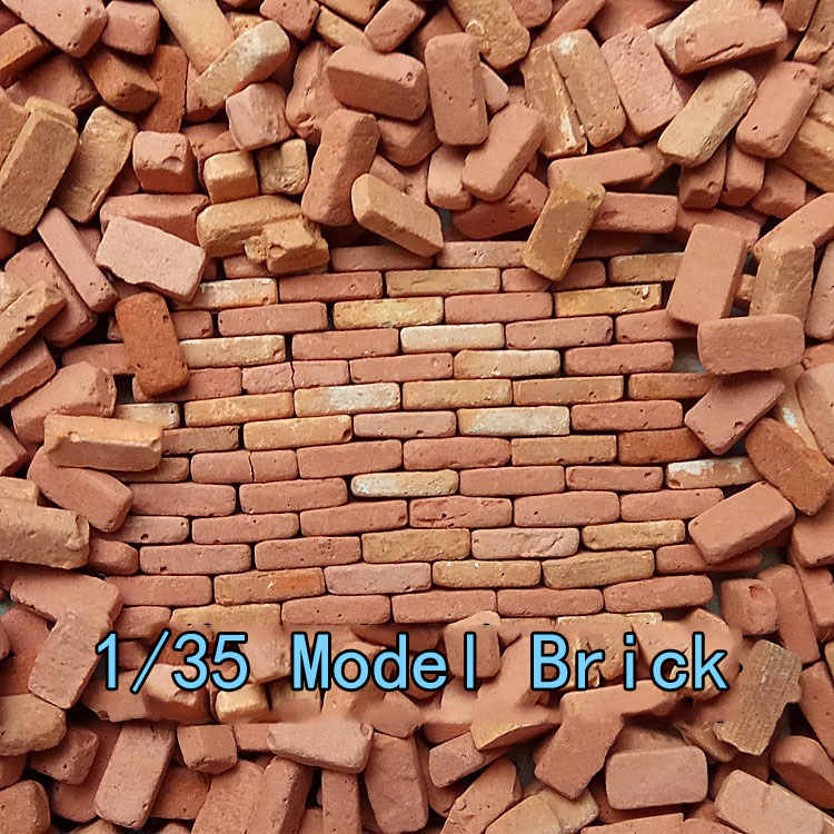 528pcs 1/35 Scale WW2 European Building Scene Architectural Model Material  Red and White Plaster Brick Wall Brick Diorama