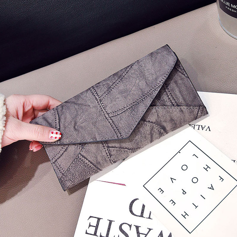 Vintage Thread Wallet Female Students Simple Retro Three Fold Wallet Bit Coin Purses Large Capacity Multi-function Wallets QB024