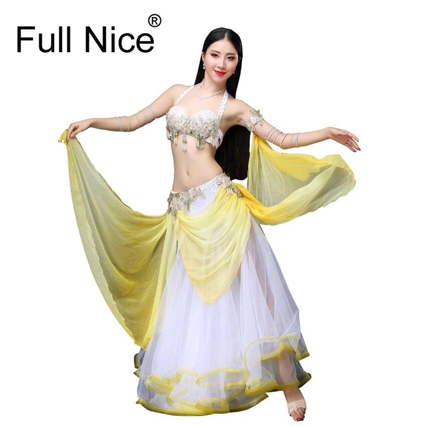 Этап и Одежда для танцев 2018 живота Одежда для танцев восточных танцев наряды танец живота бисером костюм бюстгальтер юбка светодиодный кос
