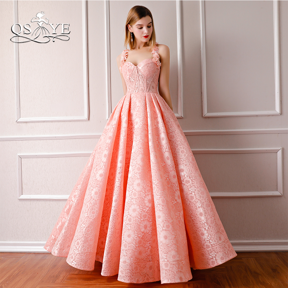 QSYYE 2018 Pink Formal Evening Dress Spaghetti Straps Sweetheart 3D Flowers  Floor Length Lace Long Prom 210150338aca