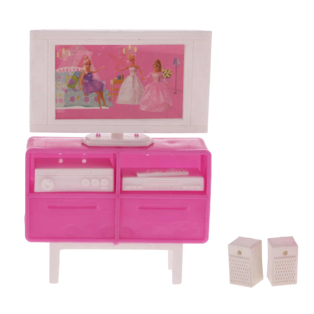 Barbie doll house furniture - New 1 12 Scale Plastic Miniature Dollhouse Furniture Tv Cabinet Dvd For Barbie Dolls Accessories