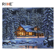 RIHE Night Cottage Diy Painting By Numbers Abstract Snow Forest Oil On Canvas Cuadros Decoracion Acrylic Wall Picture