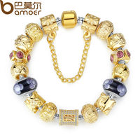 Bamoer Gold Plated Charm Bracelet Bangle For Women With High Quality Multicolor Murano Glass Beads DIY