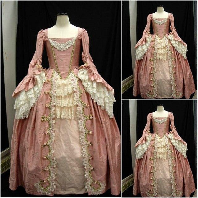 2017 neu! kunde gebildete luxs rosa viktorianischen kleider 1860 s ...