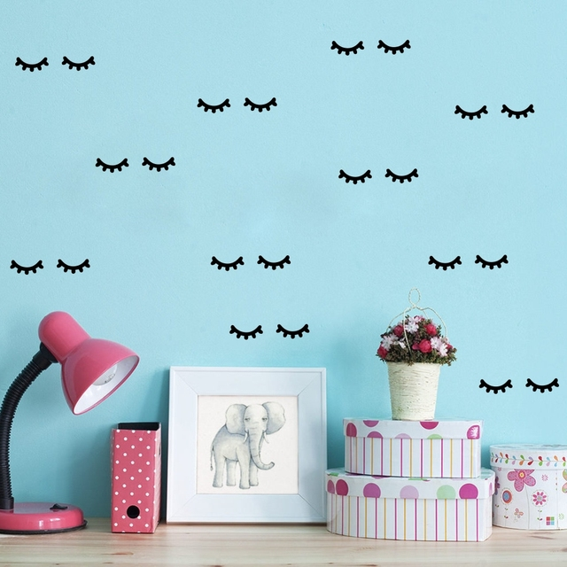 Eyelashes Wall Stickers DIY Wall Backdrop Vinyl Poster Wall Decoration Children Girls Room Decal