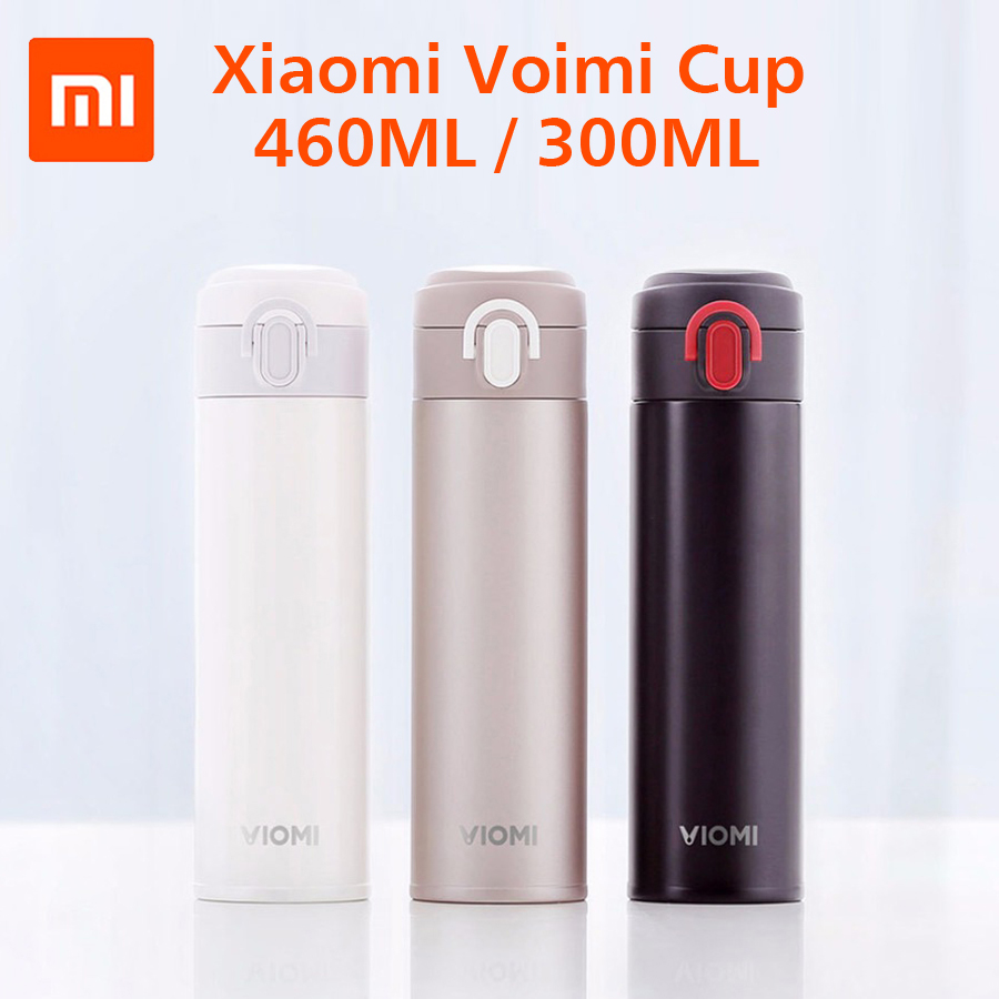 Original Xiaomi Mijia VIOMI Thermos Stainless Steel Cup Single Hand ON/Close Flask Water Bottle Cup 24 Hours Thermos 300ML 1 5l big capacity xiaomi viomi stainless steel bottle thermos water vacuum bottle cup flask pot 24h keep warm for home office
