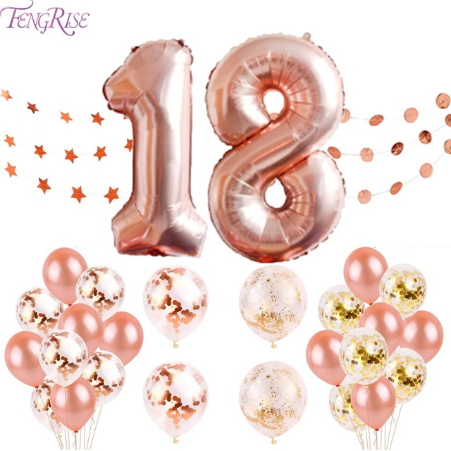 FENGRISE 18 Happy Birthday Banner Rose Gold Balloons 18th Birthday