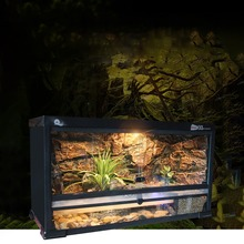 Reptile Tank Kit with Wire Mesh Lid Hide-away Cave Water Plate Hygrothermometer Bark Substrate Vivarium for Gecko Snake Tortoise