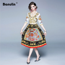 Banulin 2019 Summer Fashion Runway Designer Dress Womens Sexy V-neck Half Sleeve Vintage Floral Print Midi Long Pleated
