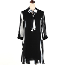 MUSENDA Plus Size Women Black Striped Chiffon Ties 3/4 Sleeve Dress 2018 Spring Female Dresses Vestido Clothing Robe 3XL 4XL 5XL