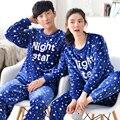 Amante pareja pijama establece las mujeres y los hombres de coral polar pijamas de invierno thicking ropa de casa ropa de dormir de franela de manga larga