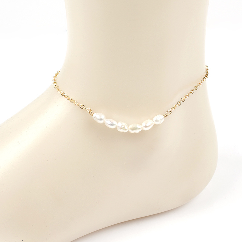 Fashion Simple Beach Pearl Foot Chain Anklets Bohemian Gold Silver Sequins Adjustable Pendant Anklet Bracelet for Women Jewelry in Anklets from Jewelry Accessories