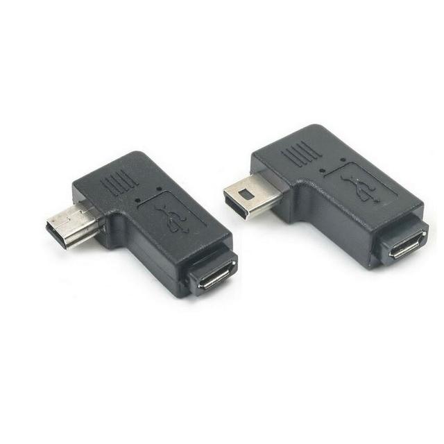 מיני usb זכר למייקרו USB נקבה 90 270 תואר זווית ממיר מחבר נתונים סנכרון מטען מתאם עבור רכב MP4 טבליות כבל