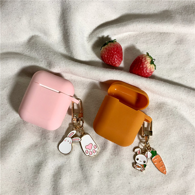 Exquisite Rabbit Charms keychain cute candy color silicone Headphone Earphone Case For Apple Airpods Accessories cover