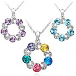 RNAFASHION No Minimum Order Manufacturer Supply Special Offer Nickel Free Charm Necklace 5 Colors Crystal Accessories