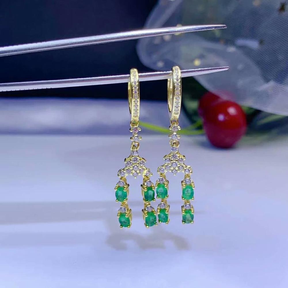 SHILOVEM 925 sterling silver real Natural Emerald stud earrings classic fine Jewelry new wedding 3*4mm de03049912agml