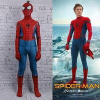 New Spider Man Homecoming Jumpsuit Spandex Superhero Kids Mask Jumpsuit Tight Cosplay Costume Christmas Carnival Halloween