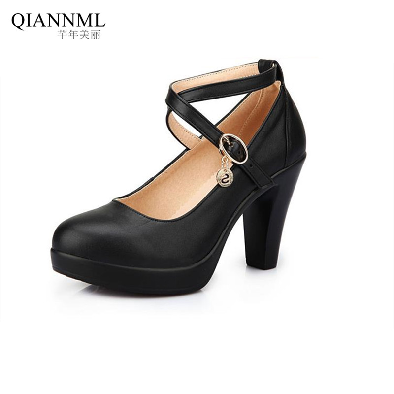 ФОТО New 2017 Spring Summer Women's Black Shoes High Heels Office Genuine Leather Pumps Women Large Size Shoe
