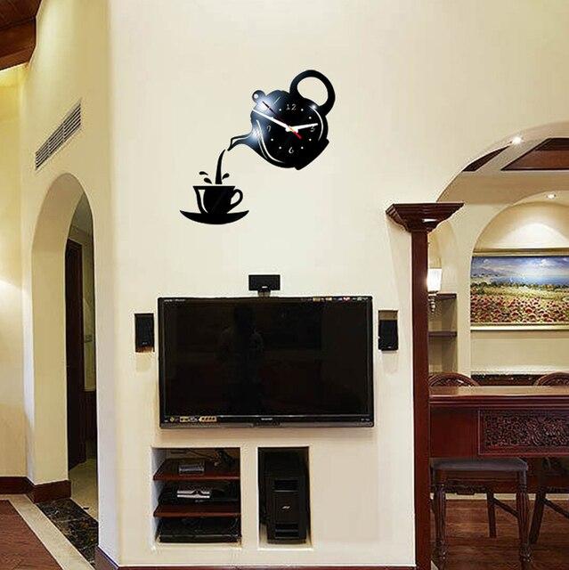 New 3D Acrylic Wall Clock Sticker Coffee Teapot Cup Creative DIY Mirror Wall Clock Modern Design For Living Room Decoration