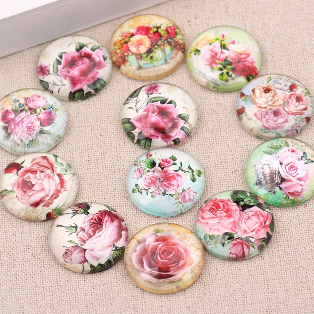 onwear 50pcs mixed rose flower photo round glass cabochon 12mm diy handmade earrings jewelry making findings