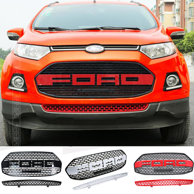 For Ford EcoSport F150 Style Front Hood Center Grille Grill Car Styling Auto Accessories 2012 2013 2014 2015 2016 car rear trunk security shield cargo cover for ford ecosport 2013 2014 2015 2016 2017 high qualit black beige auto accessories